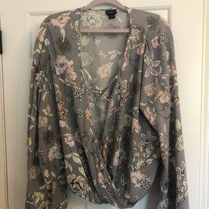 Rue21 grey floral wrap shirt